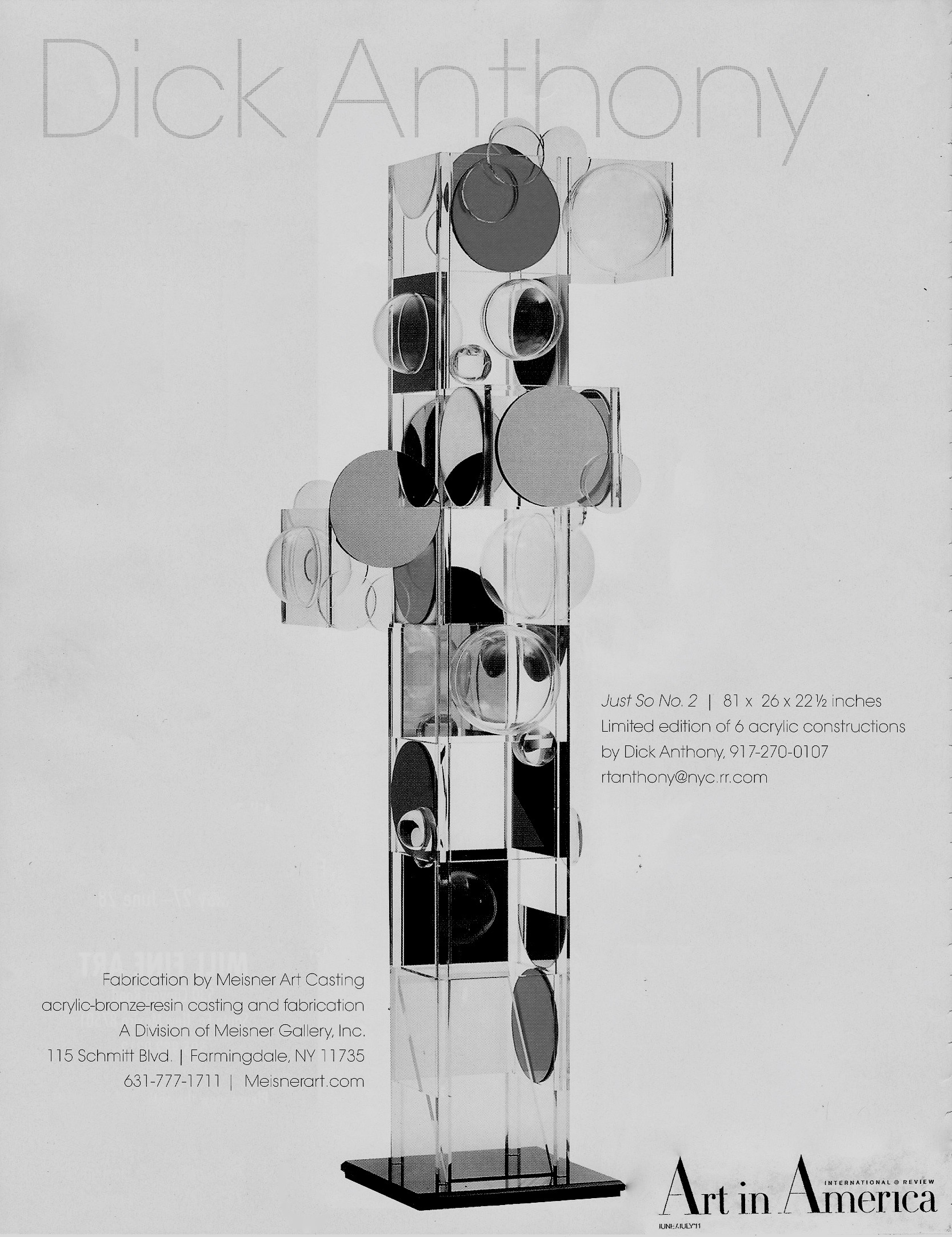 <em>Art in America</em> ad by The Meisner Gallery of the 6.75-foot sculpture shown in the Cosmic Order Gallery